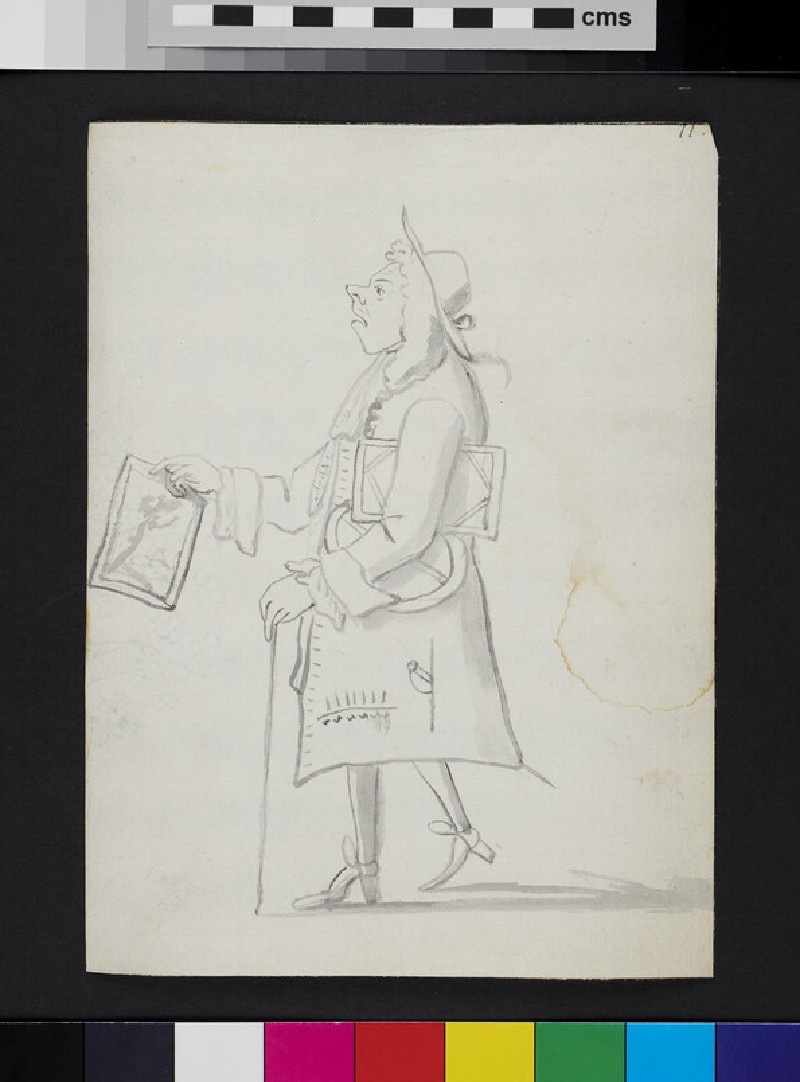Caricature of a man in profile, carrying paintings