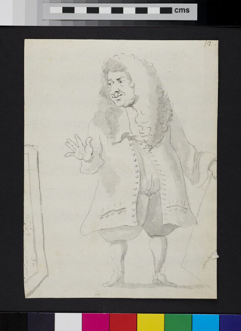 Caricature of a man before a painting