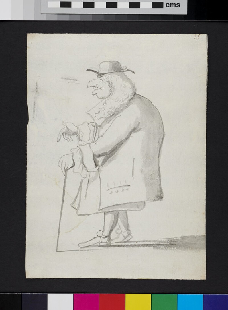 Caricature of a man standing in profile, holding a cane (recto)