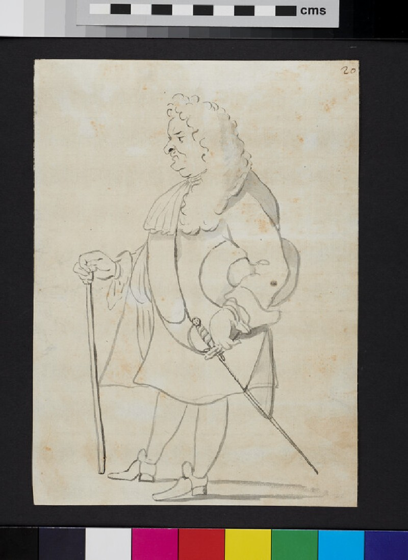 Caricature of a man standing in profile, holding a cane and a hat (recto)