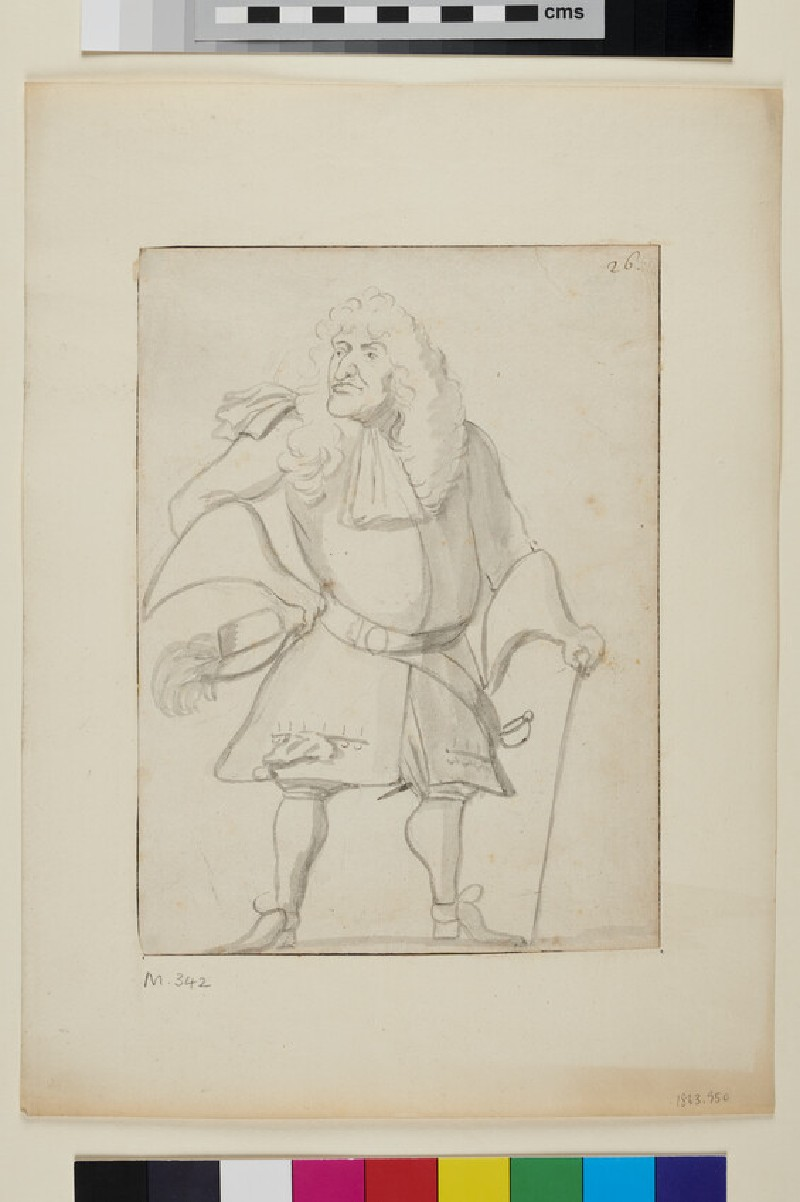 Caricature of a man holding a cane and a hat (recto)