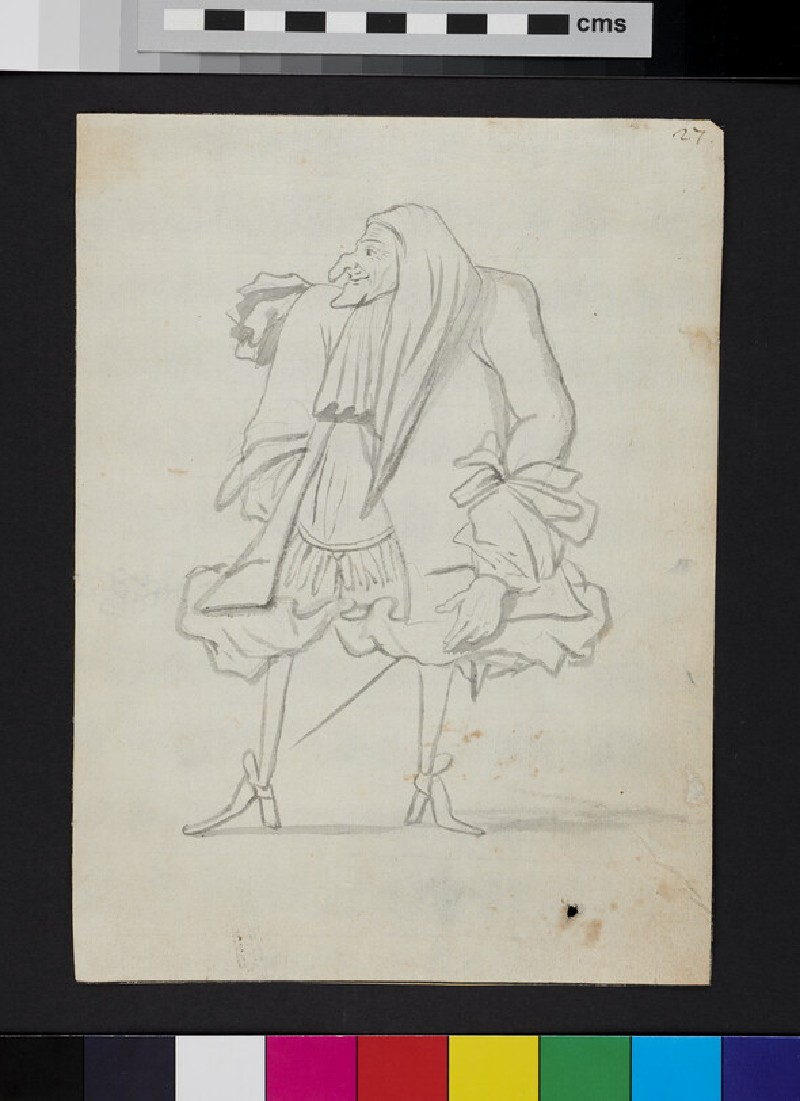 Caricature of a man, looking to his right (recto)