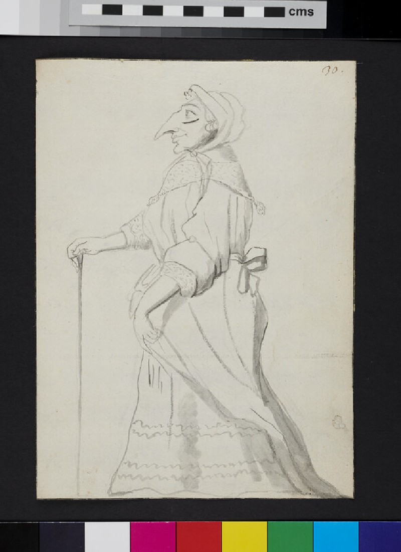Caricature of a woman standing in profile, holding a cane (recto)