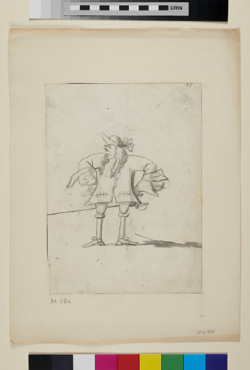 Caricature of a man with his hands on his hips (recto)