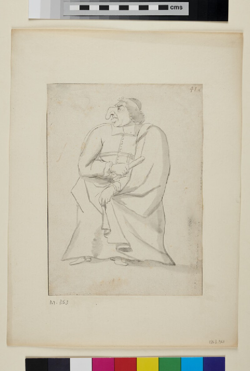 Caricature of a man looking to his right (WA1863.961, recto)