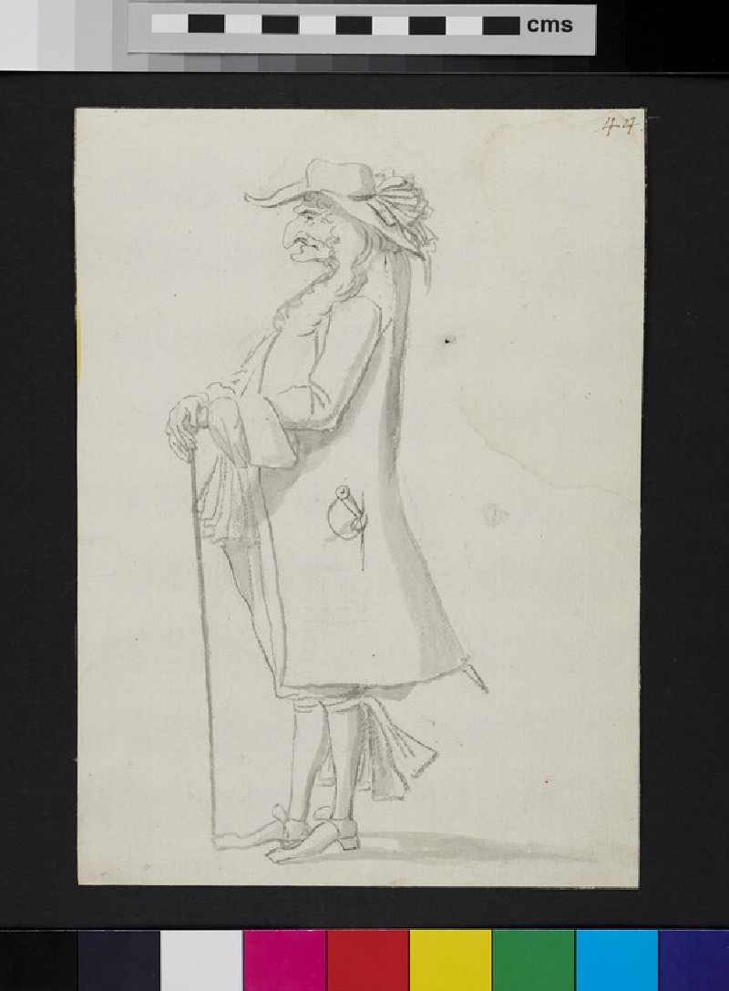 Caricature of a man standing in profile, holding a cane