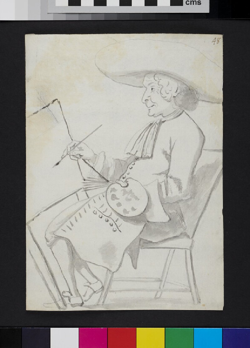 Caricature of a painter at work (recto)