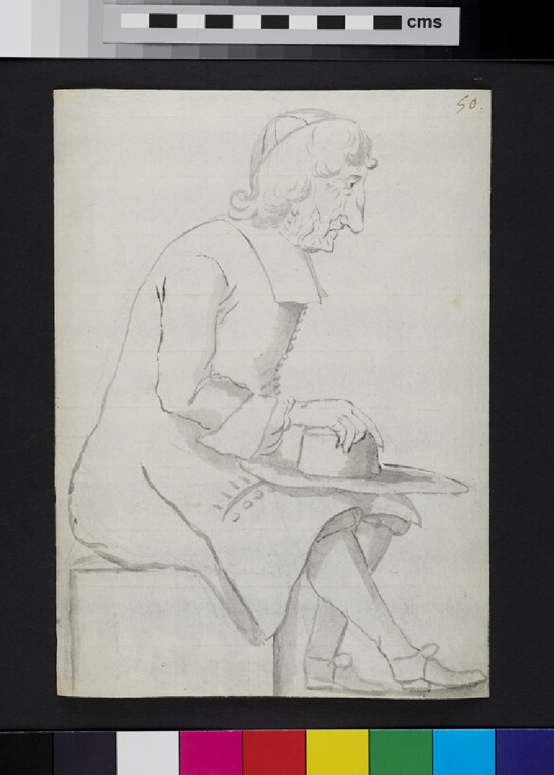 Caricature of a man seated in profile, holding a hat (recto)