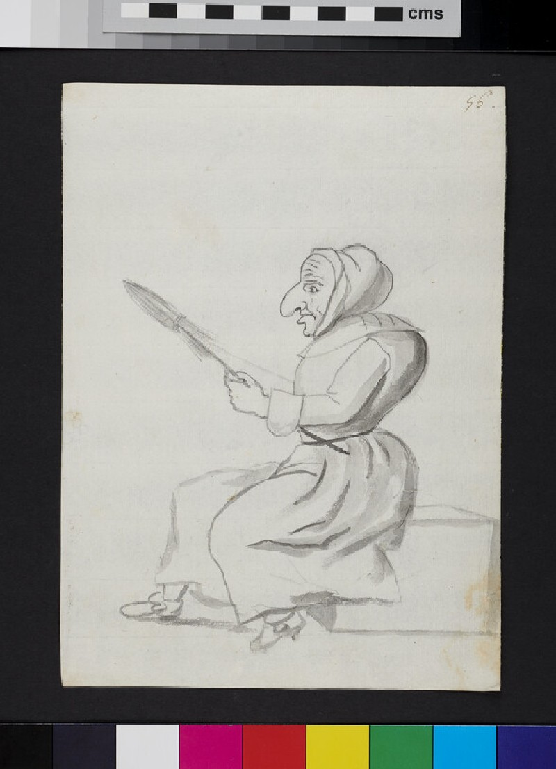 Caricature of a woman holding a spindle (WA1863.971, recto)