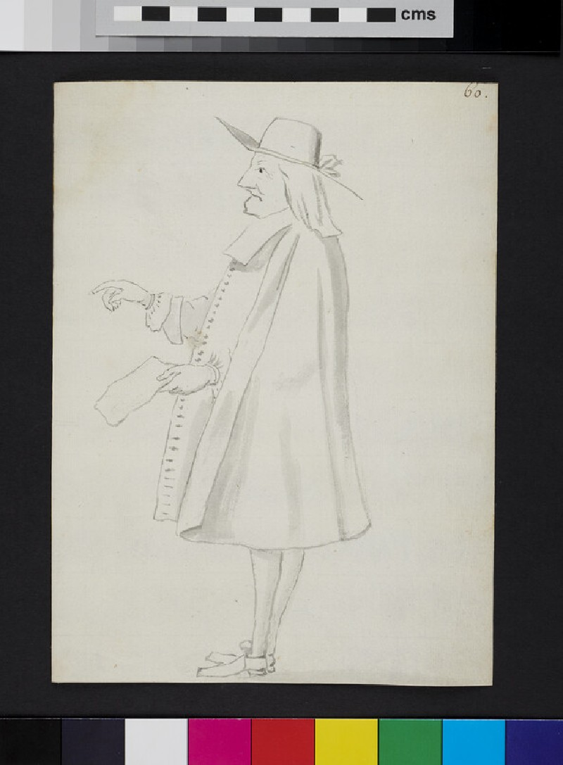 Caricature of a man standing in profile, holding a piece of paper (recto)