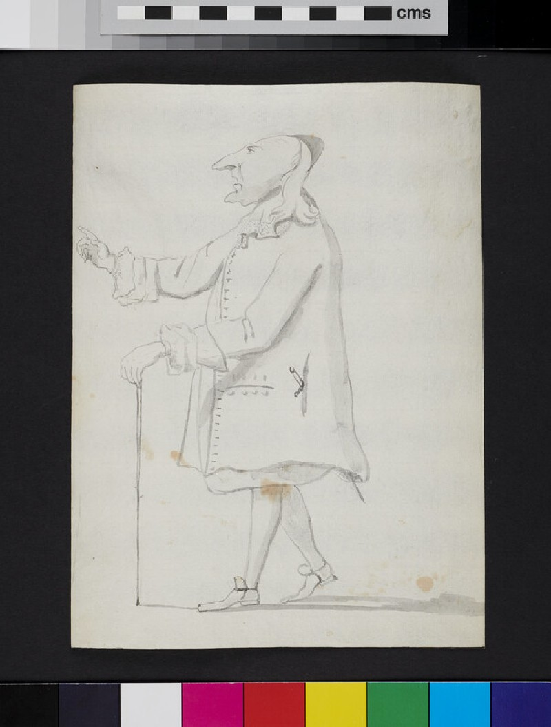 Caricature of a man standing in profile, holding a cane and gesturing (recto)