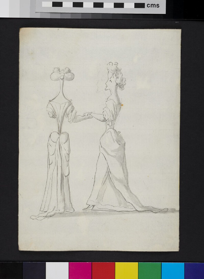 Caricature of two women holding hands