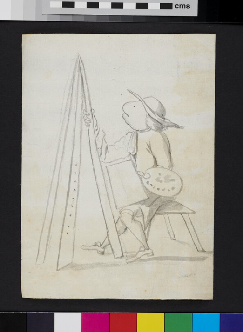 Caricature of a painter at an easel (WA1863.979, recto)