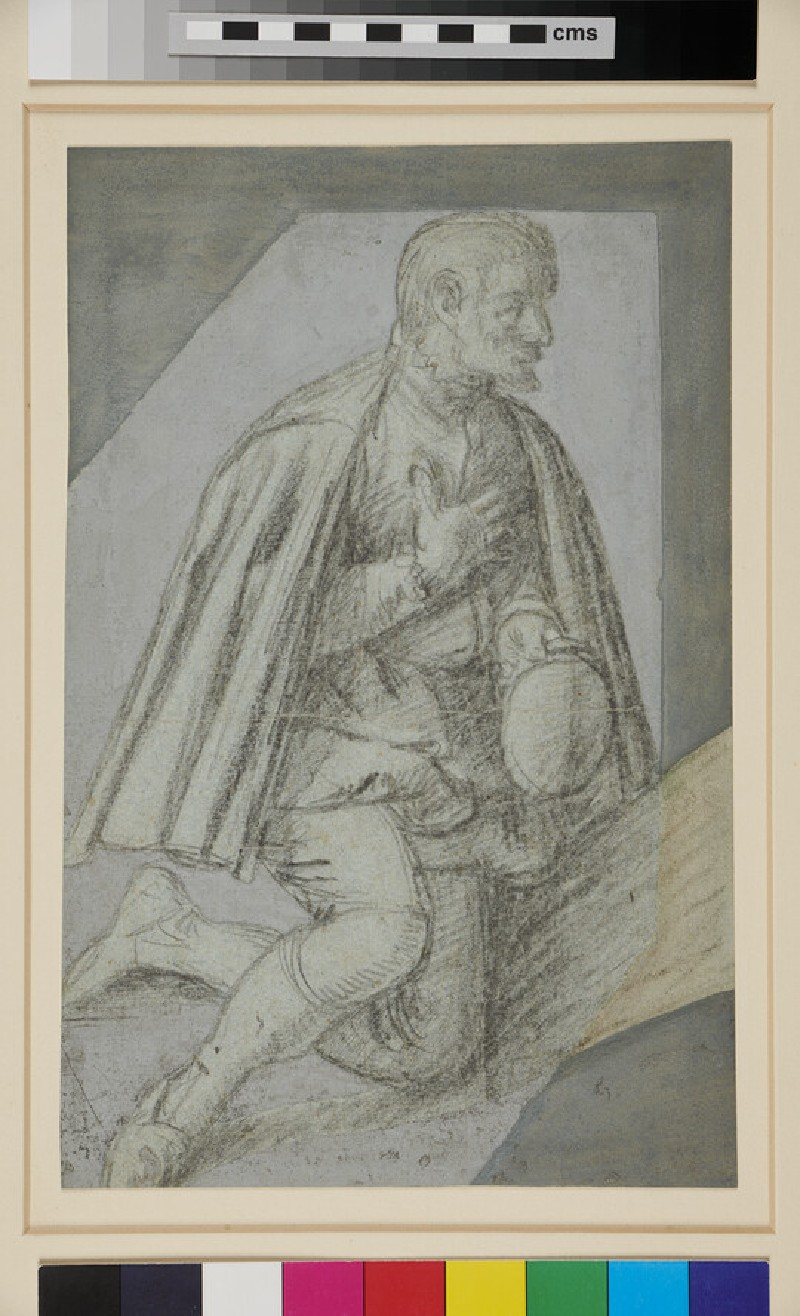 A kneeling man with his right hand on his breast, holding a hat with his left hand (WA1863.1492, verso)