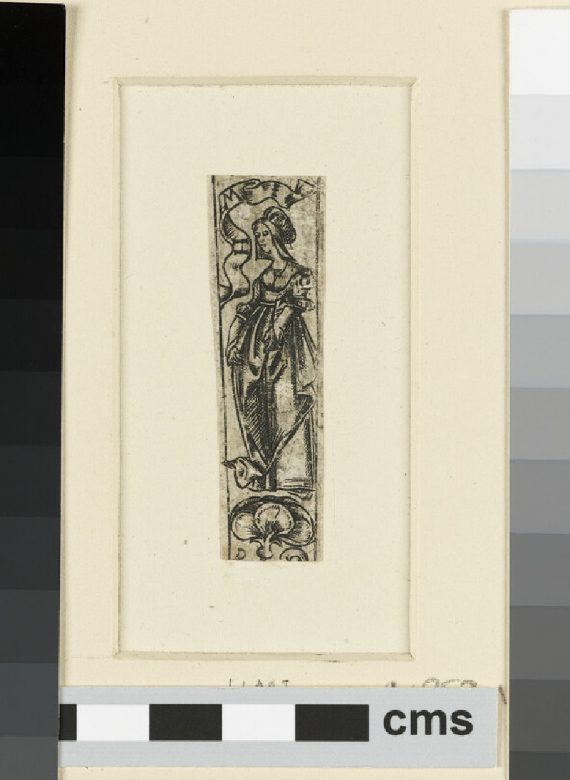 Fragment of ornamental design with a whole-length female figure