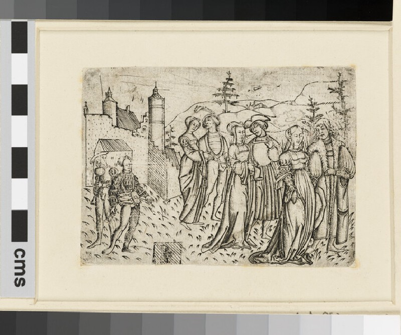 Three elegant couples walking to right, with two musicians (WA1863.10431)