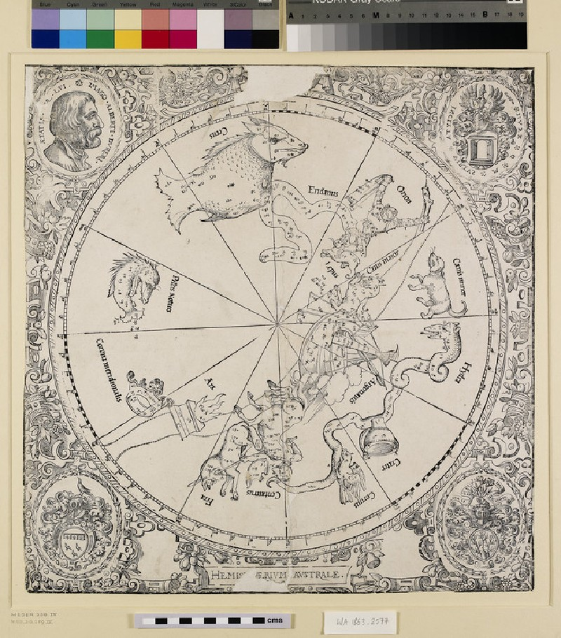 Celestial map of the southern hemisphere, late impression