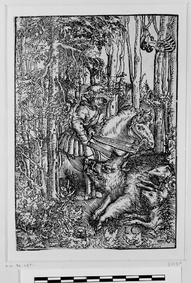 Hunter on horseback hunting a wild boar
