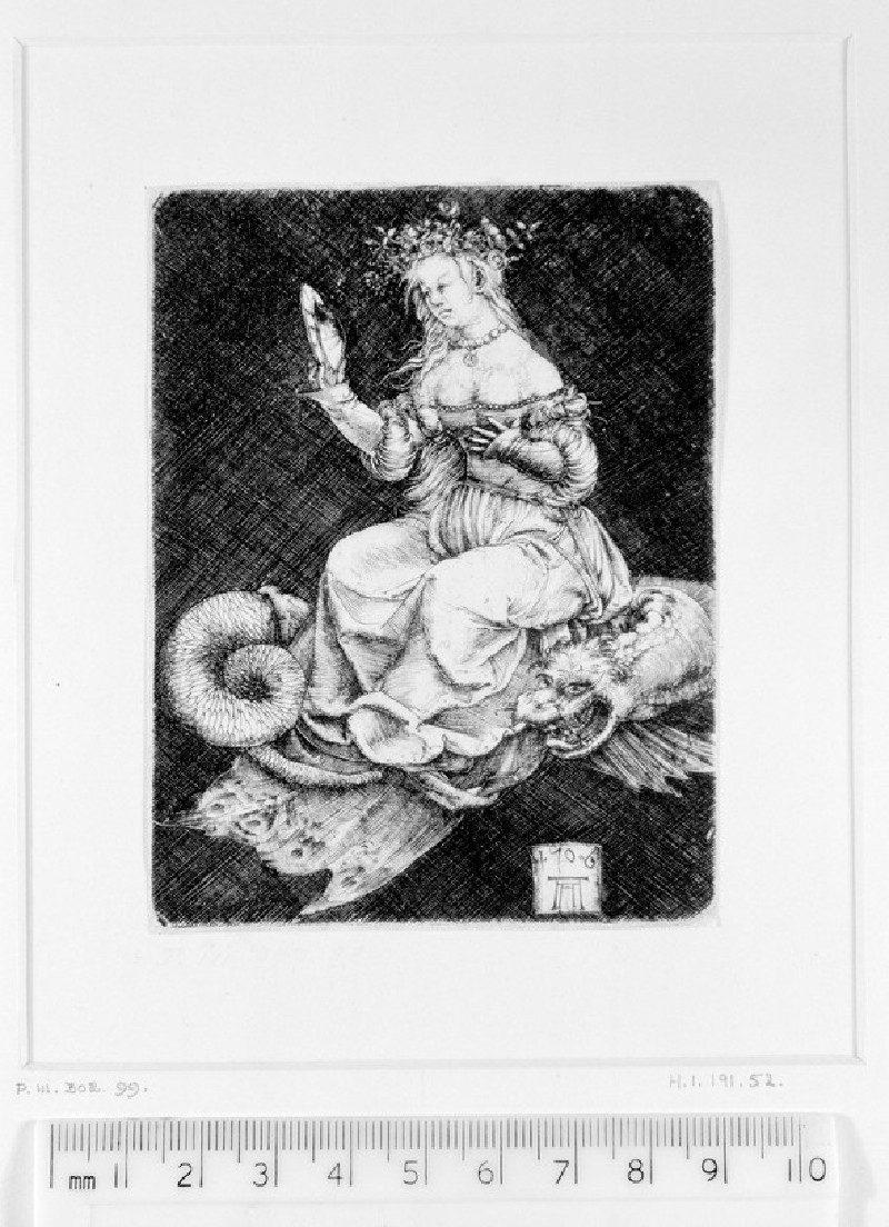Vanity: Allegorical female figure seated on a dragon
