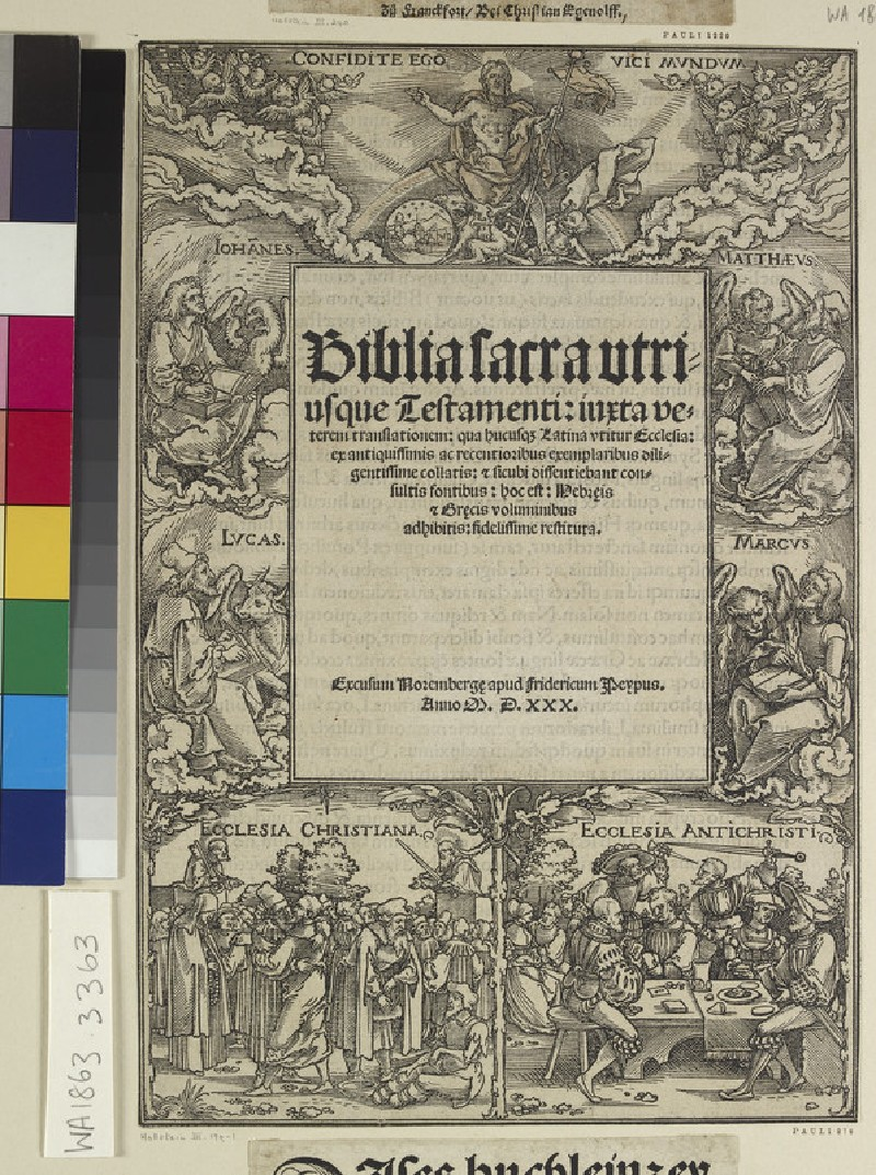 Titlepage with the Salvator mundi, the four Evangelists and the two churches (WA1863.3363)
