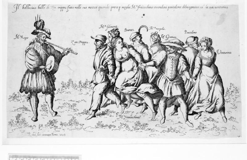 Il bellissimo ballo di Zan trippu fatto nelle sue nozze (characters from the 'Commedia dell'Arte' dancing)