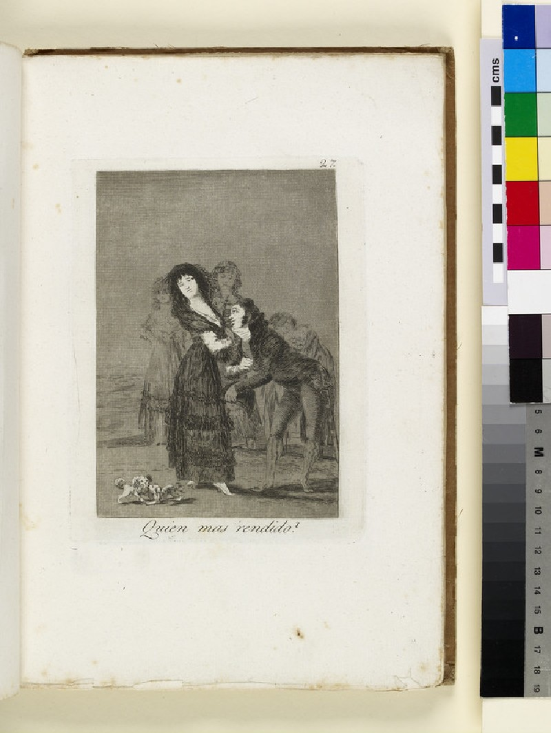 Plate 27: dispassionate young woman courted by young man, figures watching in background (WA1863.6450.27)