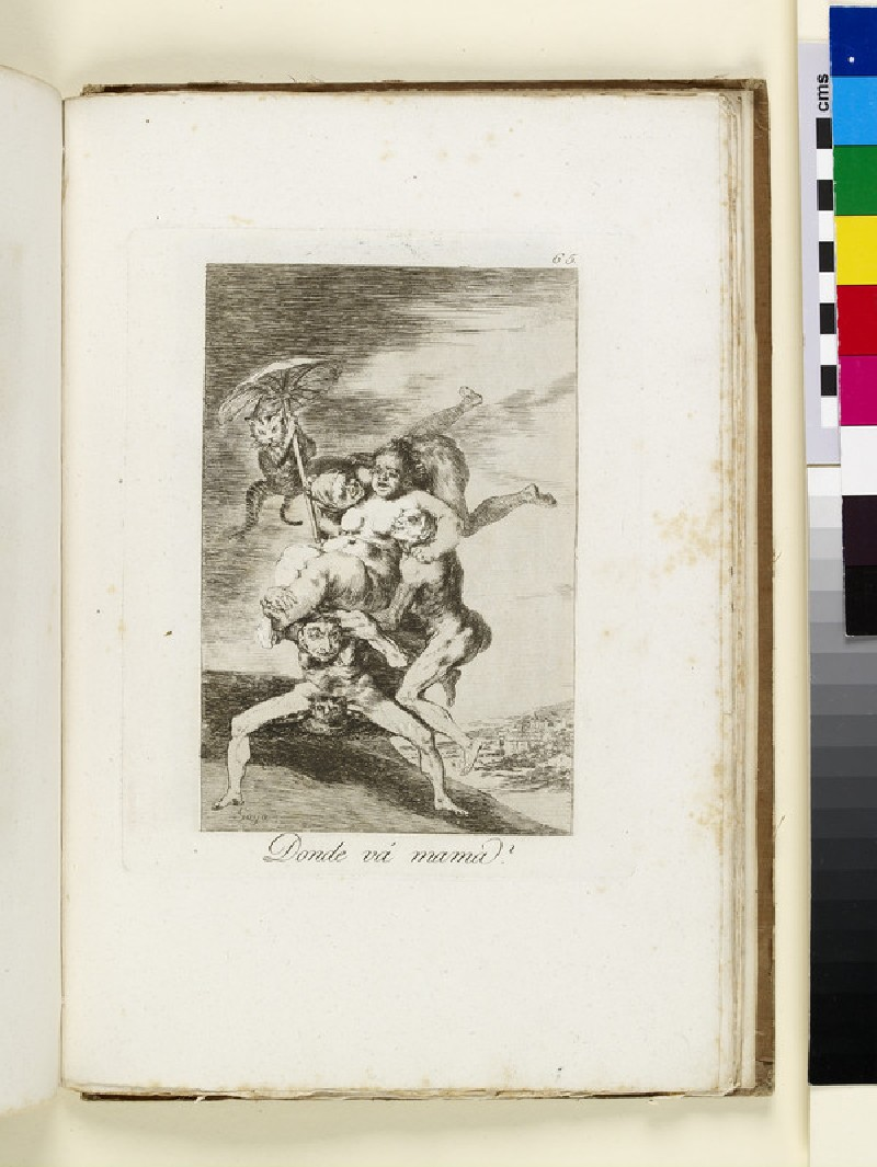 Plate 65: nude woman carried away over landscape by witches, with cat holding parasol
