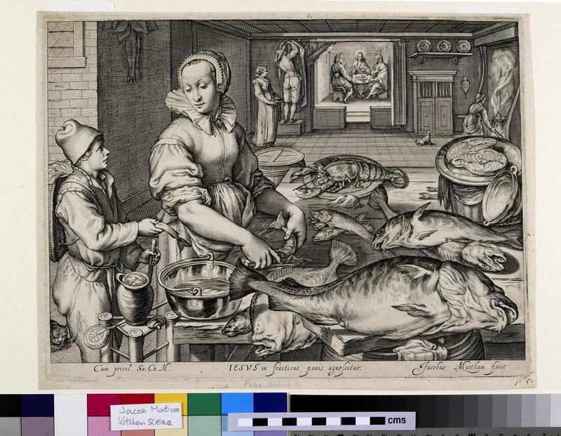 Kitchen scene with kitchen maid preparing fish