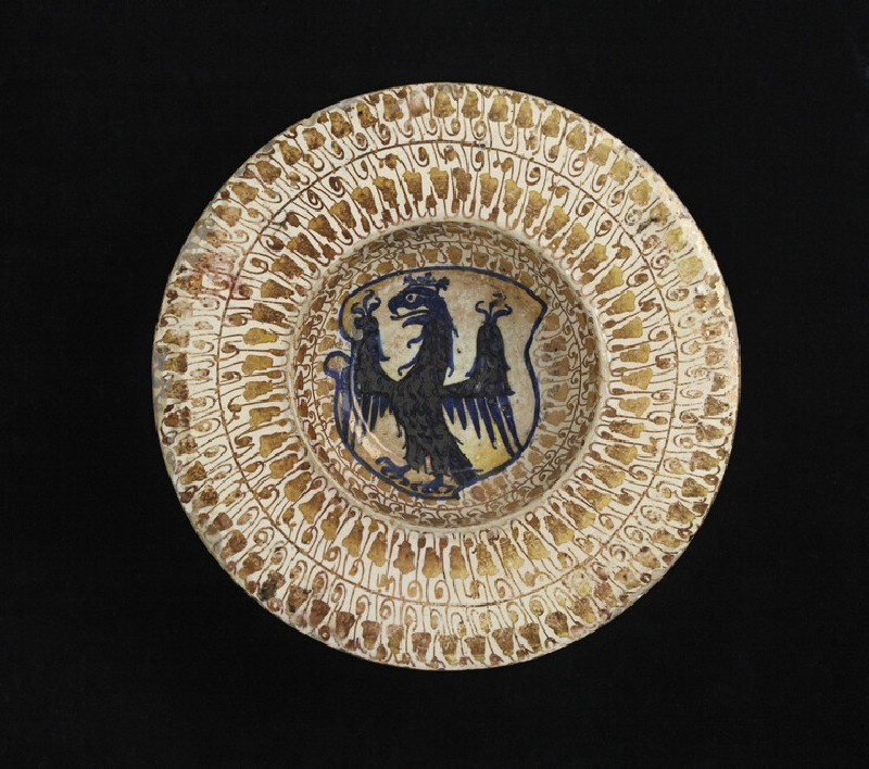 Broad-reimmed bowl with a heraldic eagle