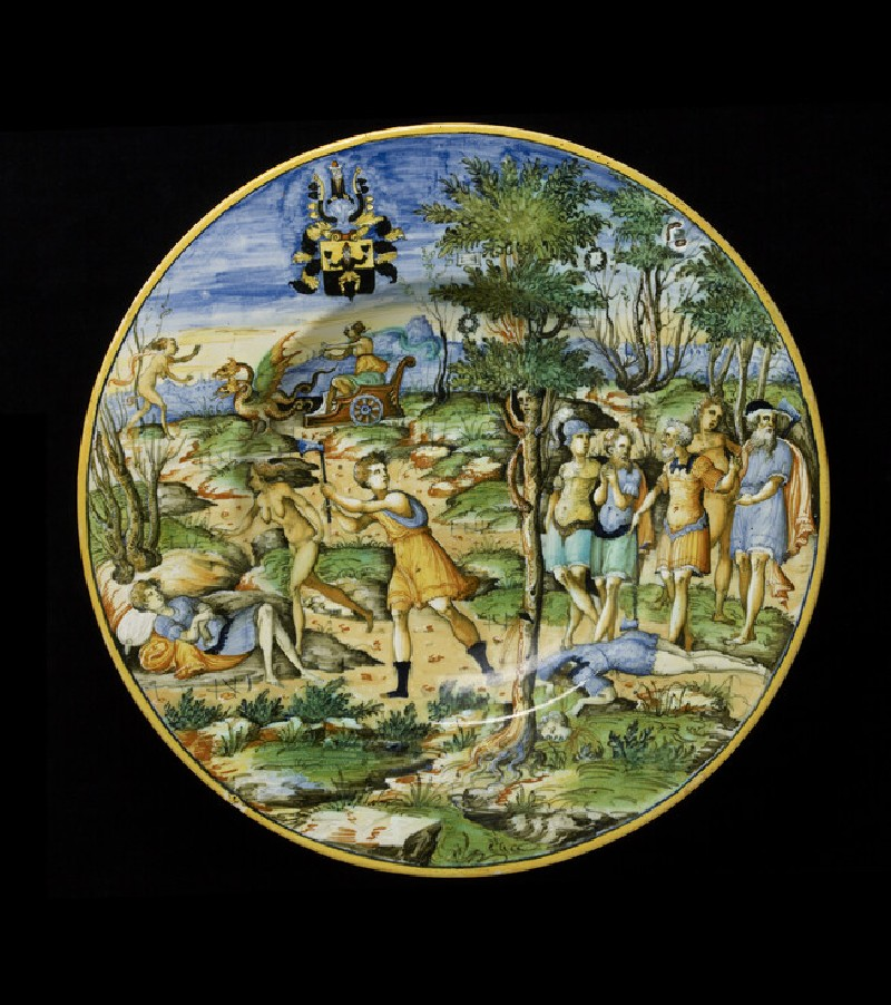 Plate with The Story of Erysichthon, and arms of Scheuffelin (WA1888.CDEF.C420)