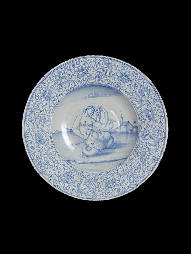 Dish with a mermaid holding mirror and trumpet