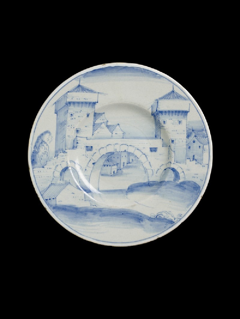 Plate with a fortified bridge and townscape (WA1888.CDEF.C496, WA1888.CDEF.C.496, top)