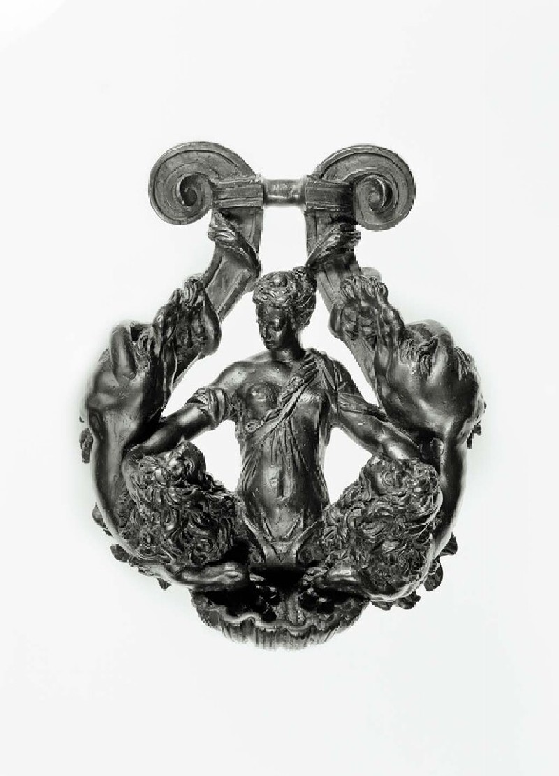 Lyre-shaped door-knocker with woman and two lions (WA1888.CDEF.B1096)