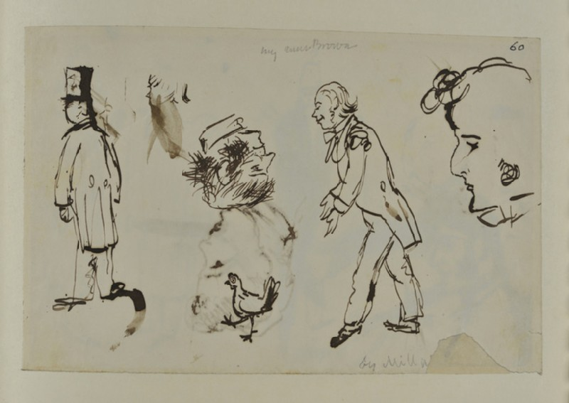 Sketch of Figures, Heads and a Chicken (WA1894.61.22)