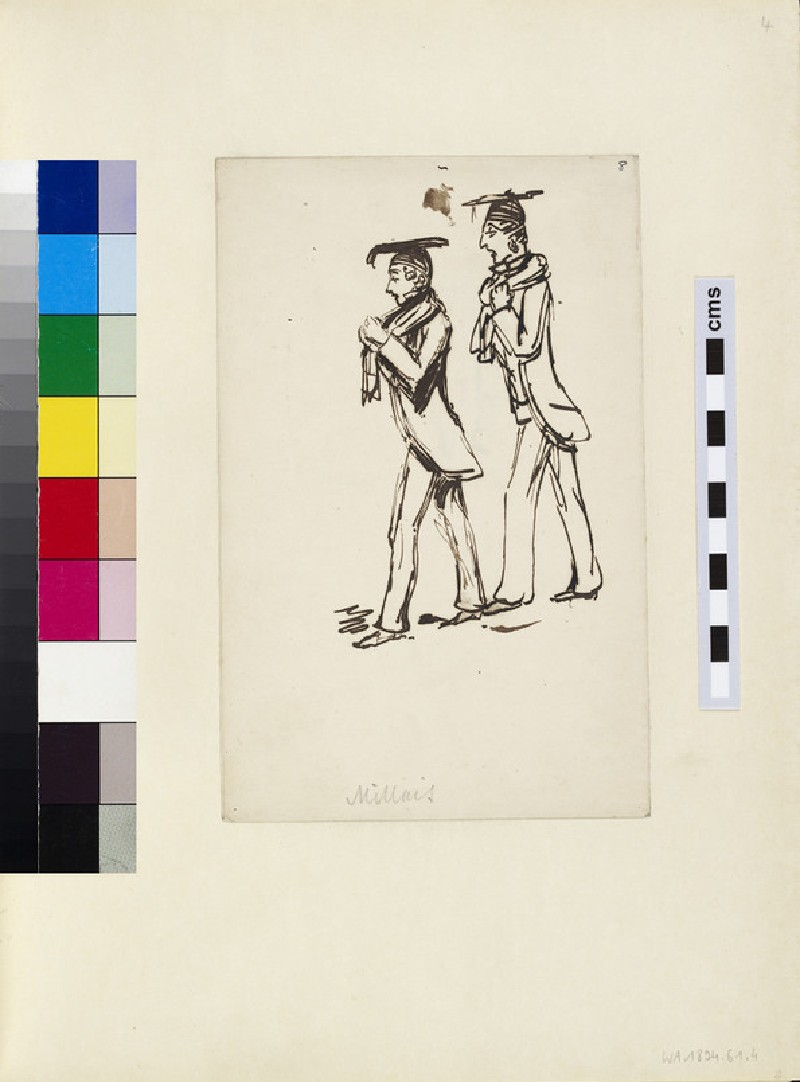 Recto: Sketch of two Academics<br />Verso: Rear View Sketch of an Academic