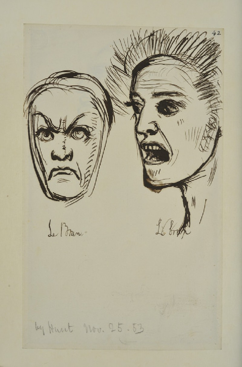 Study of Two Heads in the Manner of Charles Lebrun