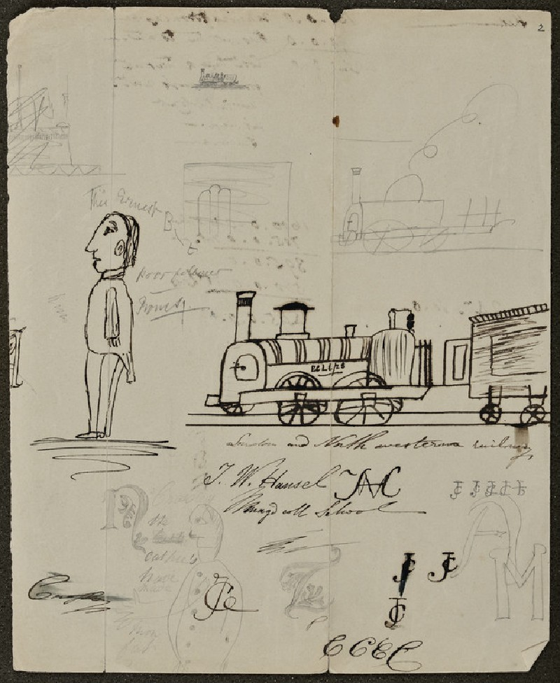 Sheet of Sketches: Trains, Male Figure, Notes (WA1894.61.46)