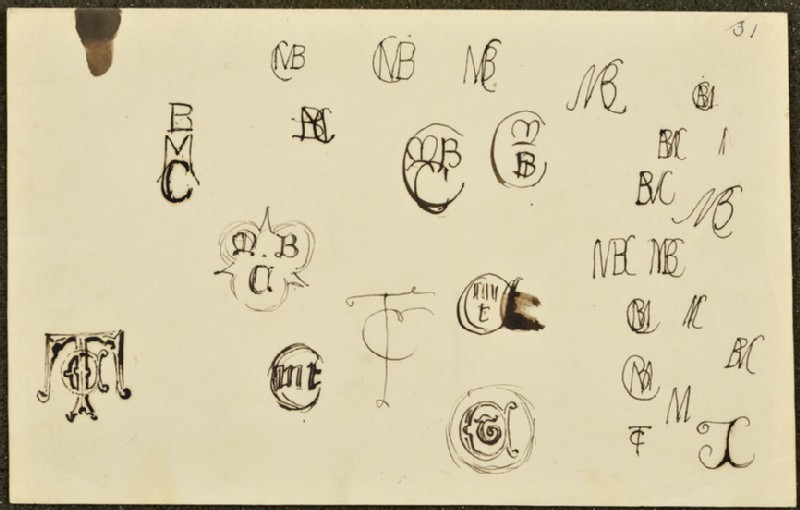 Sheet of 27 monograms for Thomas and Martha Combe, John Everett Millais and Charles Allston Collins