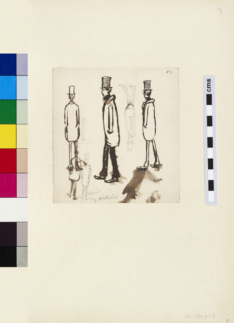 Recto: three Sketches of a Man in an Overcoat and Top Hat<br />Verso: three Sketches of Men in Overcoats and Top Hats
