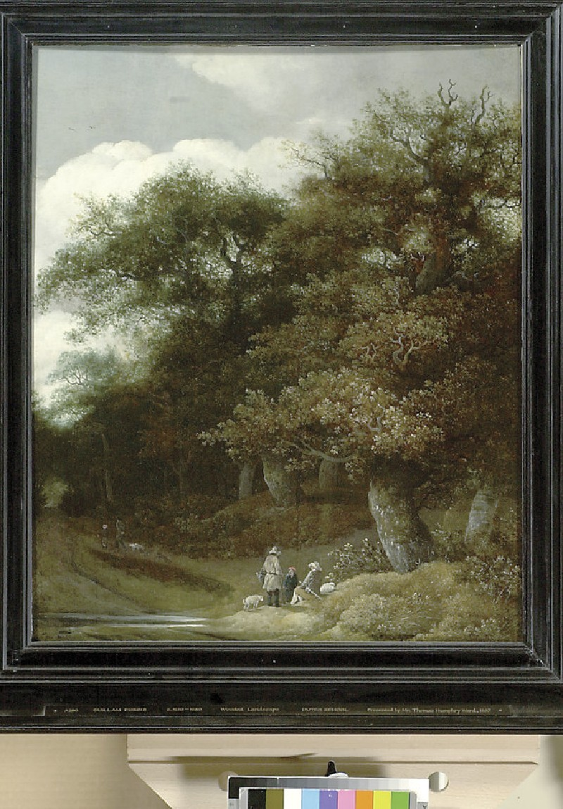 Figures by a Ford in a wooded landscape