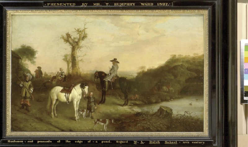 Two Huntsmen and Peasants beside a Pond (WA1897.8)