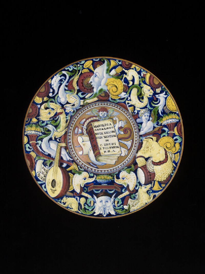 Plate with Fortnum's catalogue painted in centre (WA1899.23)
