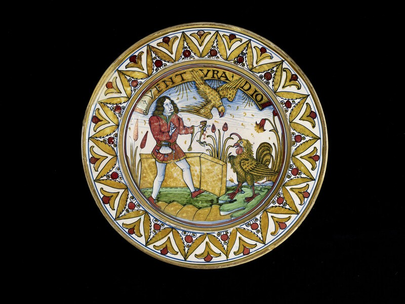 Plate, the fable of the hawk and the capon