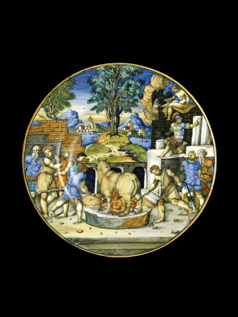 Plate, the bull of Perillus, arms of Lancierini