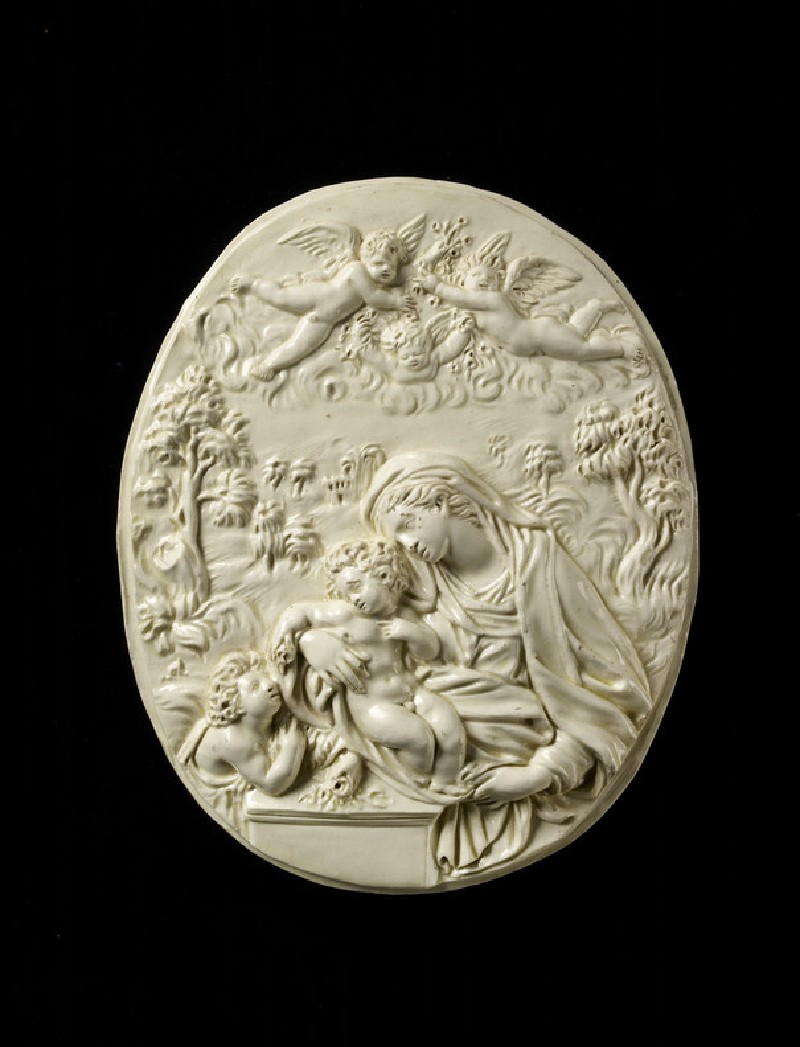 Plaque, the Virgin and Child with the young St John the Baptist