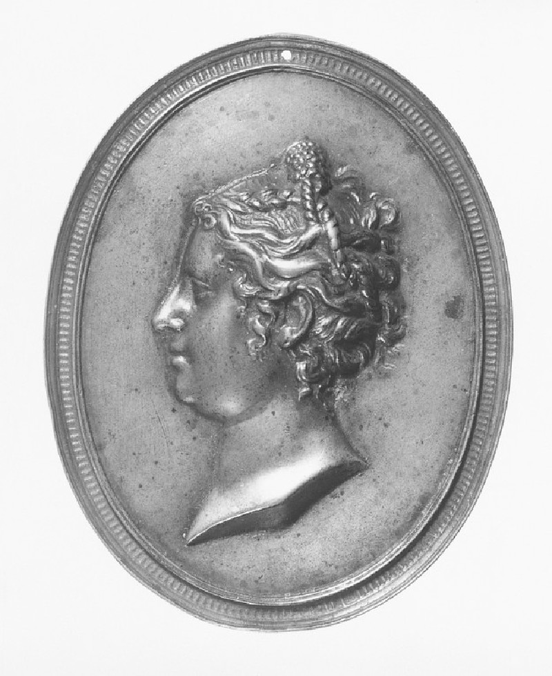 Profile bust portrait of a woman