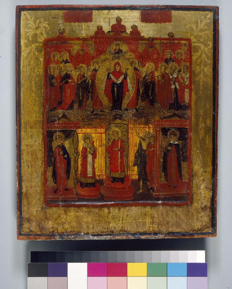 Icon of Pokrov (The Virgin of Refuge) with Saints (WA1915.14)