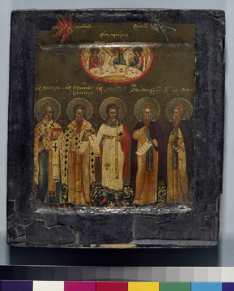 Icon of The Old Testament Trinity with standing Saints