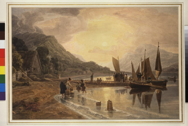 The Shore of Loch Fyne at Inveraray with Figures and Boats: Sunset