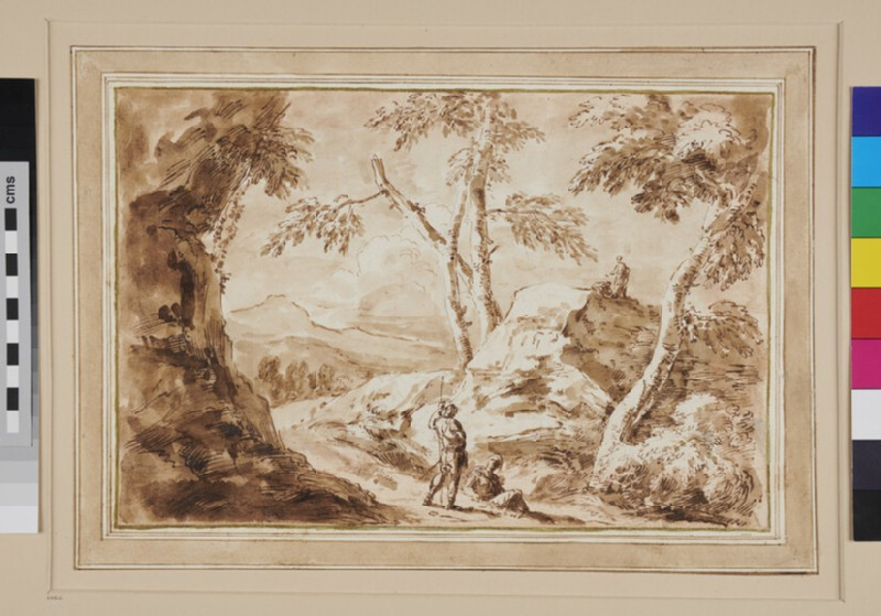 Path amid rocky Scenery with Trees on the right and four Figures including a standing Soldier in the foreground